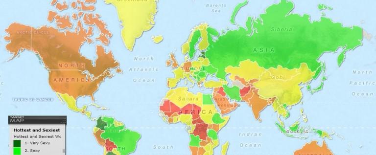 Publican un mapa de las mujeres más atractivas del mundo